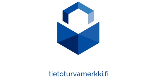 Traficomin Tietoturvamerkki kertoo, että merkillä varustettu palvelu on suunniteltu tietoturvalliseksi.